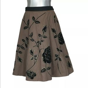 Anthropologie Skirt 2 XS ODILLE Brown Velvet Full